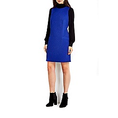 Wallis - Blue jacquard pinny dress