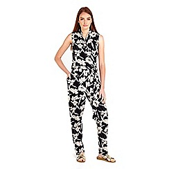 Wallis - Black floral printed jumpsuit