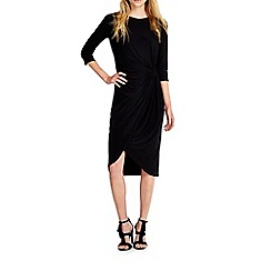 Wallis - Black knot wrap dress