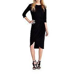 Wallis - Black knot wrap dress