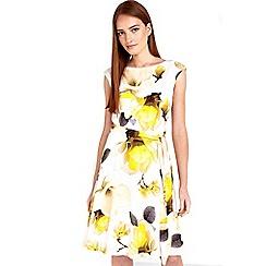Wallis - Lemon yellow floral printed dress