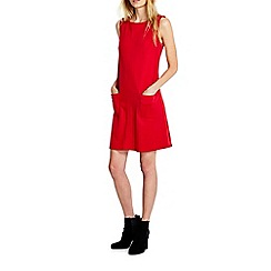 Wallis - Red patch pocket pinny dress