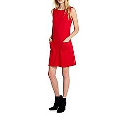 Wallis - Red patch pocket pinny dress
