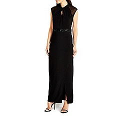 Wallis - Black high neck embellished maxi dress