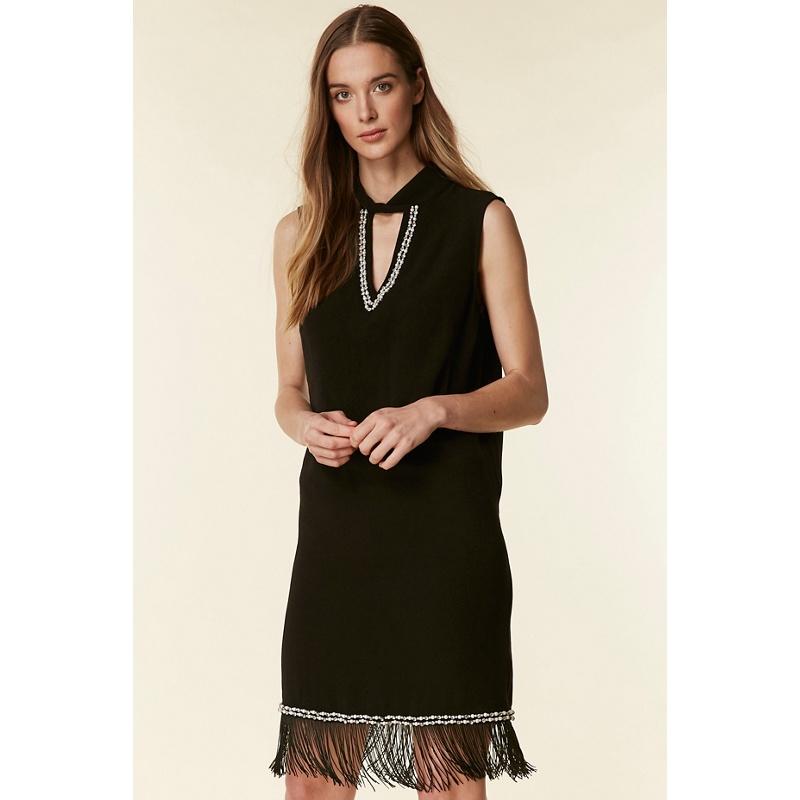 2869d570950 Wallis - Black Embellished Fringe Hem Dress