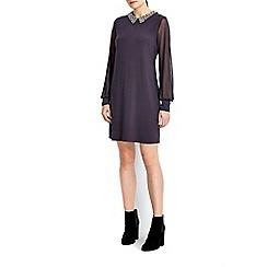 Wallis - Dark grey embellished collar shift dress
