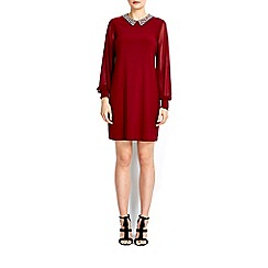Wallis - Berry embellised collar shift dress