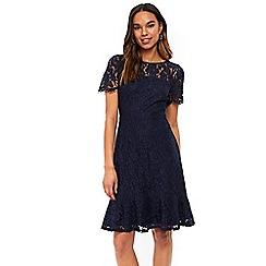 Wallis - Navy peplum hem lace dress