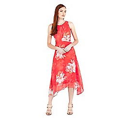 Wallis - Orange floral printed hanky hem midi dress
