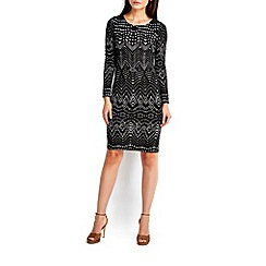 Wallis - Black tribal jacquard midi dress