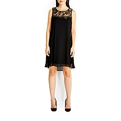 Wallis - Black crochet yoke dress