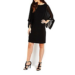Wallis - Black sequin cape sleeve tunic dress