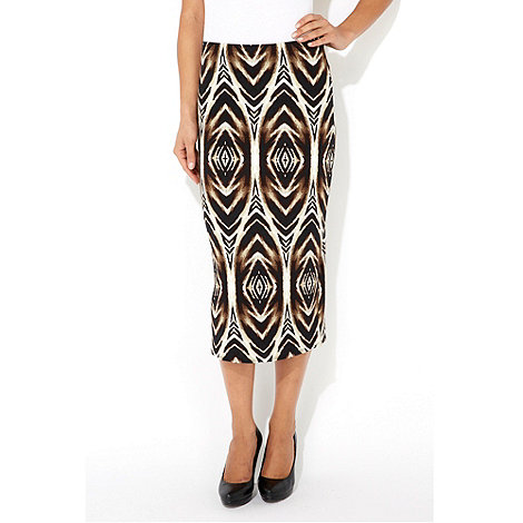 Wallis - Aztec animal print midi skirt