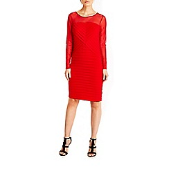 Wallis - Red mesh top shutter dress