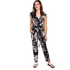 Wallis - Black floral fern print jumpsuit