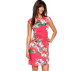 Wallis - Fuschia tropical wrap dress