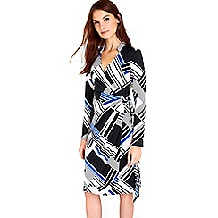 Wallis - Blue geometric wrap dress