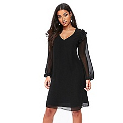 Wallis - Black ruffle trim shift dress