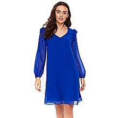 Wallis - Blue ruffle trim shift dress
