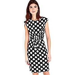 Wallis - Monochrome spot tie front dress