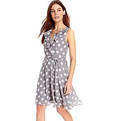 Wallis - Grey ruffle spot dress