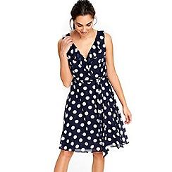 Wallis - Navy ruffle spot dress