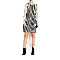 Wallis - Monochrome jacquard pinny dress