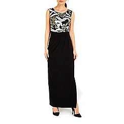 Wallis - Black sequin leaf maxi dress