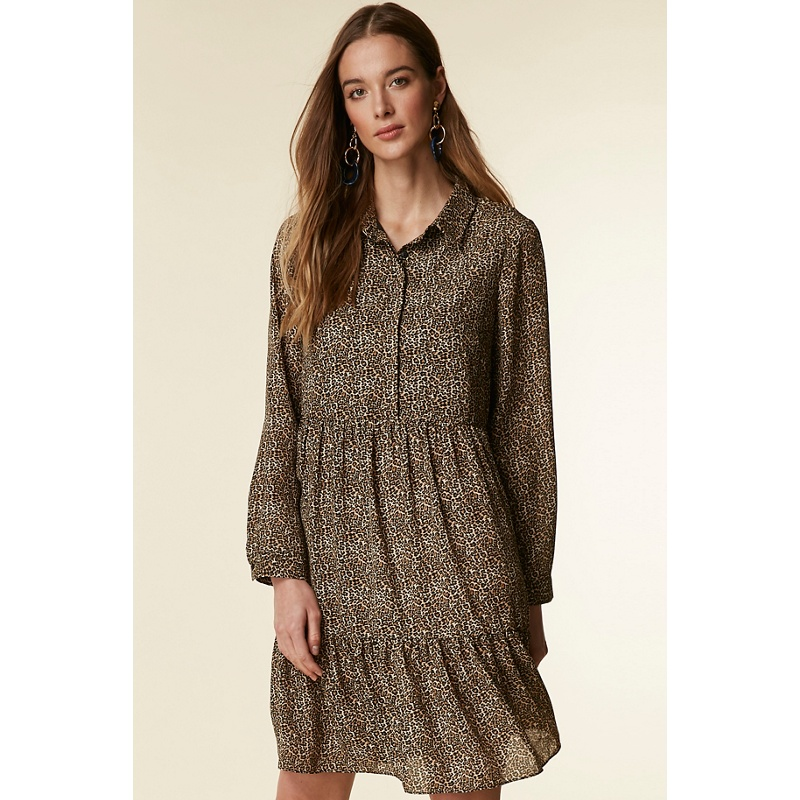 Wallis - Stone Tiered Animal Print Shirt Dress  229ed624f