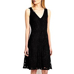 Wallis - Black v-neck lace fit and flare dress