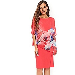 Wallis - Coral watercolour floral overlayer dress