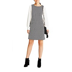 Wallis - Monochrome jacquard pinny 2 in 1 dress