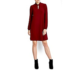 Wallis - Wine keyhole neck swing dress