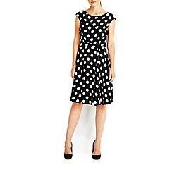 Wallis - Black spot fit and flare dress