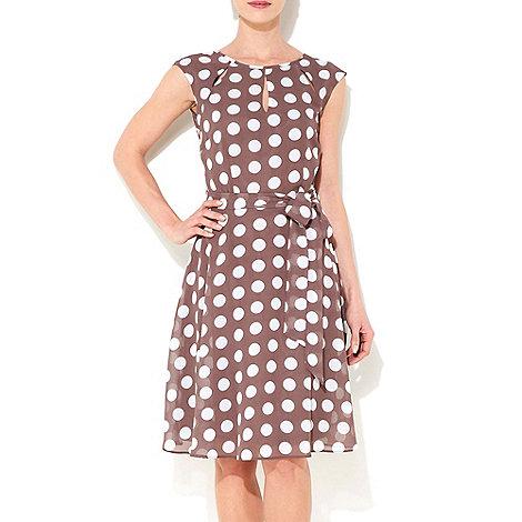 Wallis - Taupe polka dot dress