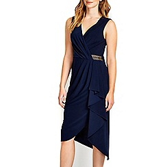 Wallis - Navy wrap bar trim ruffle dress