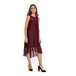 Wallis - Berry metallic polka dot split front dress