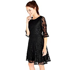 Wallis - Black floral lace fit and flare dress