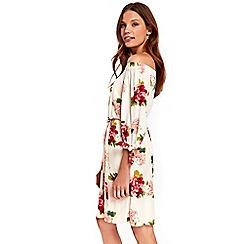 Wallis - Tie sleeves floral bardot dress