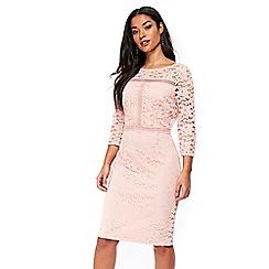 Wallis - Blush ladder trip lace dress