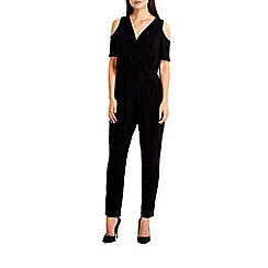 Wallis - Black cold shoulder jumpsuit