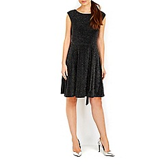 Wallis - Black sparkle fit and flare dress
