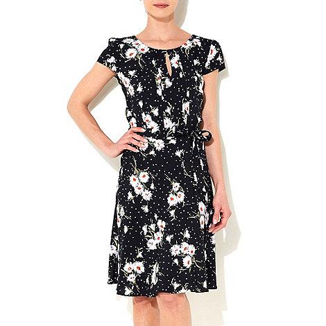 Wallis - Black spot daisy printed dress