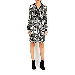 Wallis - Stone animal jacquard shirt dress