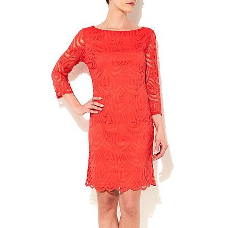 Wallis - Coral 3/4 sleeve lace dress