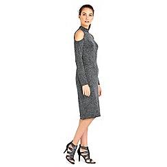 Wallis - Silver sparkle cold shoulder dress