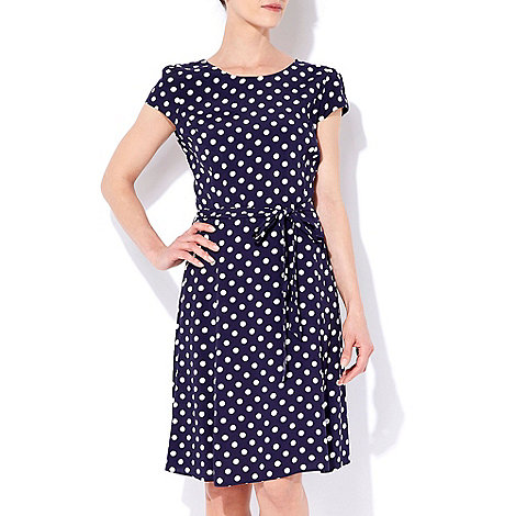 Wallis - Navy blue polka dot dress
