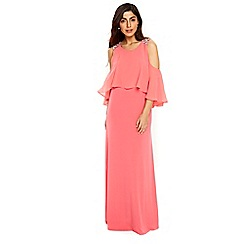 Wallis - Coral embellished cold shoulder maxi