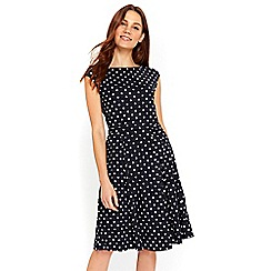 Wallis - Navy spot dress