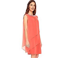 Wallis - Coral embellished tiered dress